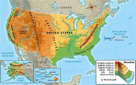 physiographic map of united states usa map