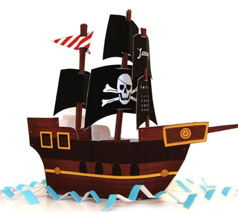 How To Make A Pirate Ship From Paper - items similar to black sails pirate ship diy paper craft