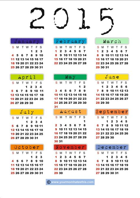 download printable 2015 calendar