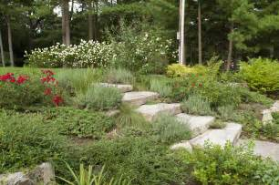 front yard landscape on a slope terrascapes