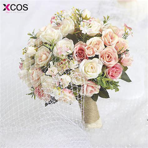 Purple White Wedding Bouquet Handmade Artificial Flower