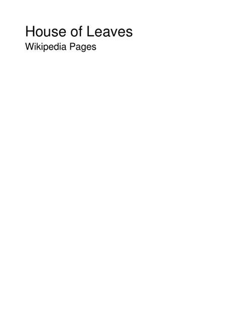 House of Leaves Wiki Pages | Books