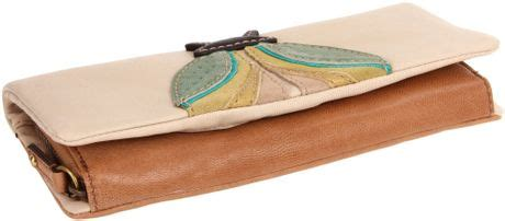 Fossil Bug Wallet fossil jules bug clutch wallet in beige camel lyst