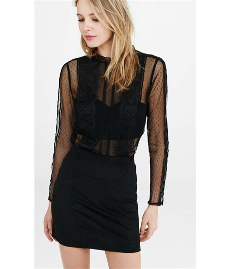 lyst express lace and mesh blouse with bandeau