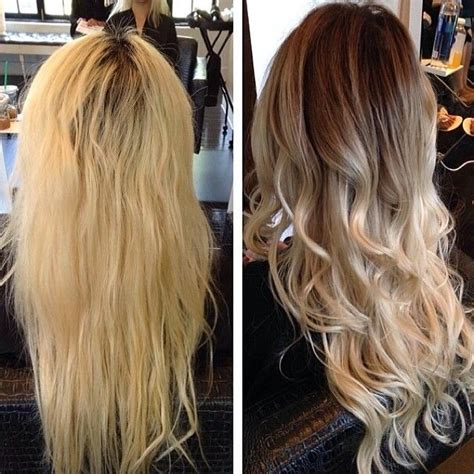 reverse ombre at home for processed blonde hair trade out flat over processed color for soft natural