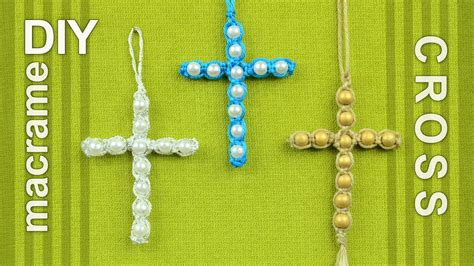 Easy Macrame Projects - beaded macrame cross easy diy tutorial
