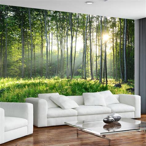 custom photo wallpaper  green forest nature landscape