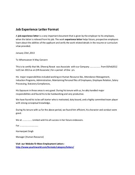 certification letter from previous employer experience letter format