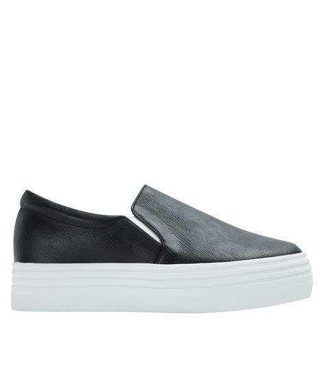 Platform Faux Leather Shoes classic faux leather platform slip on sneakers