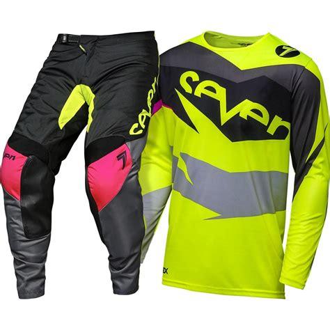 seven motocross gear seven 2018 annex ignite black flo yellow gear set at mxstore