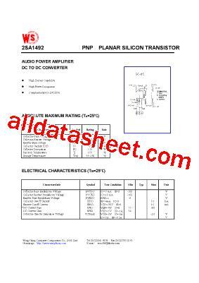 2SA1492 Datasheet(PDF)   Wing Shing Computer Components