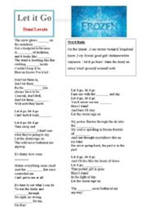 printable lyrics let it go english worksheets let it go debi lovato