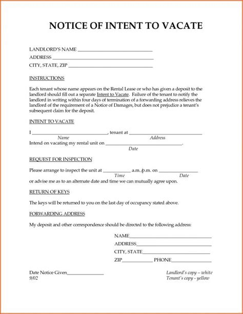 Intent To Vacate Template Business Rental Notice To Vacate Template
