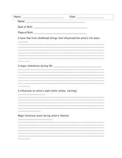 artist biography worksheet artist biography questionnaire