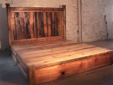 Rustic Platform Bed Buy Crafted Reclaimed Rustic Pine Platform Bed With Headboard And 4 Drawers Made To Order