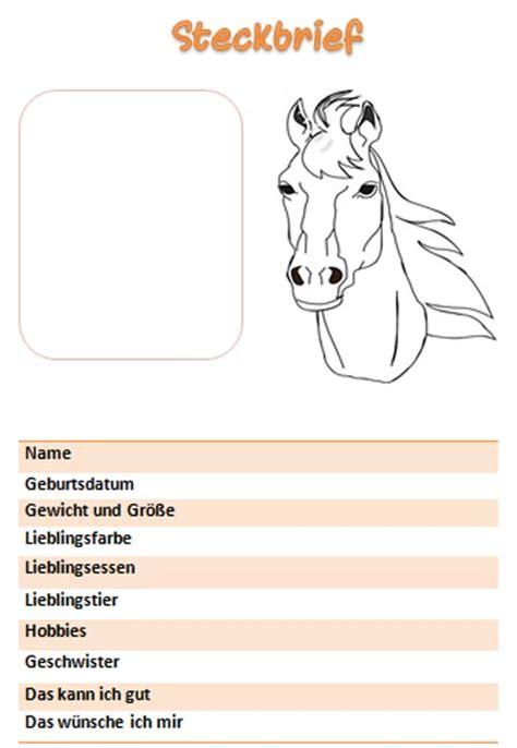 Vorlage Word Steckbrief Steckbrief Vorlage F 252 R M 228 Dchen Mit Pferd
