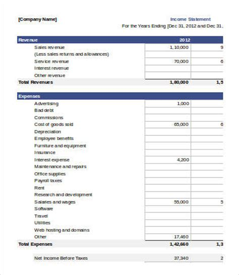income statement template excel 7 free excel documents