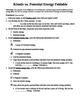 kinetic vs potential energy worksheet kinetic vs potential energy foldable activity by oliverio sicence