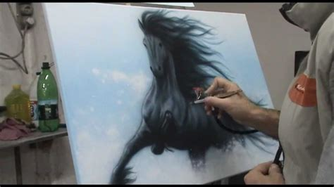 with airbrush airbrushing a on canvas with acrylic aerografie cal