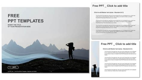 powerpoint templates free mountains hiker on top of the mountain powerpoint templates