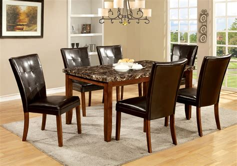 Marble Kitchen Table And Chairs Furniture Of America Antique Oak Moralli Faux Marble Top Dining Table Home Furniture
