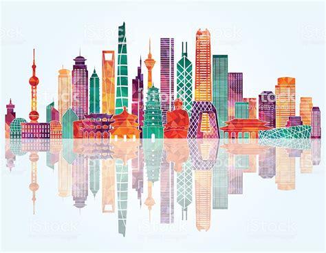 Shanghai Clip china skyline vector illustration stock vector more