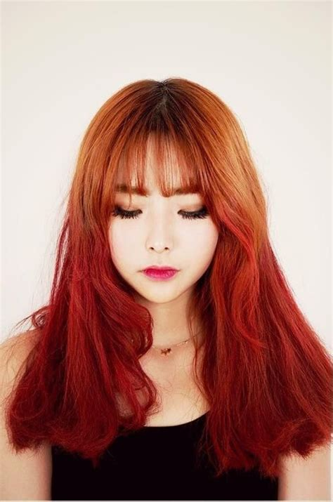 korean hairstyles color beautiful korean hair red ombre korean hairstyle