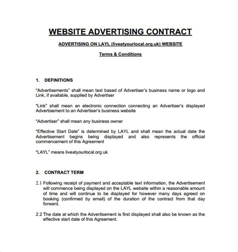 7 Advertising Contract Templates To Download Sle Templates Website Advertising Contract Template