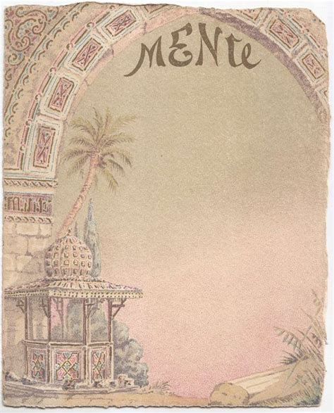 Blank Menu Card Templates by Vintage Blank Menu Card Arab By Vintage