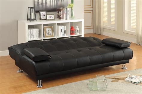 Sofa Beds and Futons Faux Leather Convertible Sofa Bed with Removable Armrests   Quality