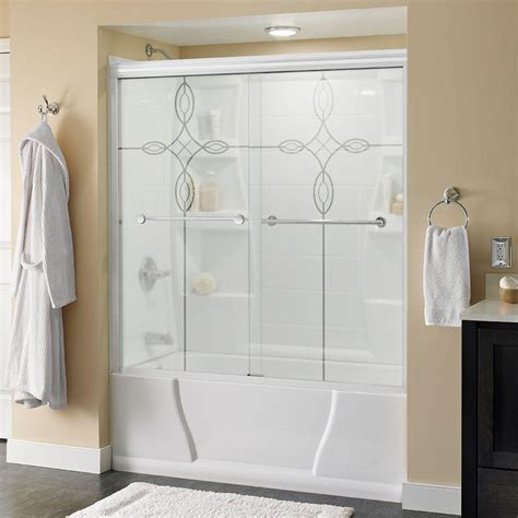 frameless sliding glass bathtub doors delta lyndall 60 in x 58 1 8 in semi frameless sliding