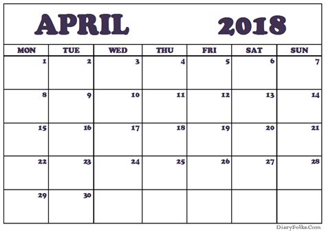April 2018 Calendar Template Printable Sheets Calendar Template 2018