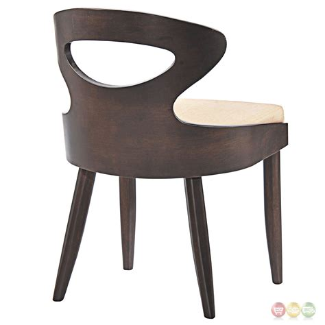 Upholstered Seat Dining Chairs Transit Vintage Modern Dining Side Chair With Upholstered Seat Walnut Beige