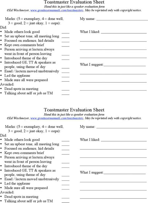 toastmasters evaluation template toastmaster evaluation template free premium