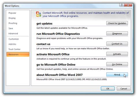 Lisensi Microsoft Office 2007 Version how to see the about dialog and version information in