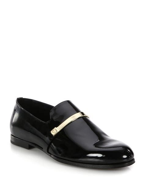 jimmy choo loafer jimmy choo patent leather loafers in black for lyst