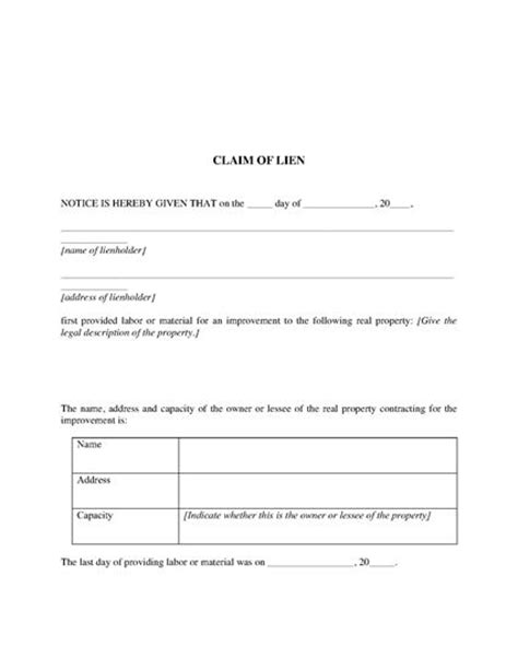 proof of service template michigan claim of lien and proof of service forms