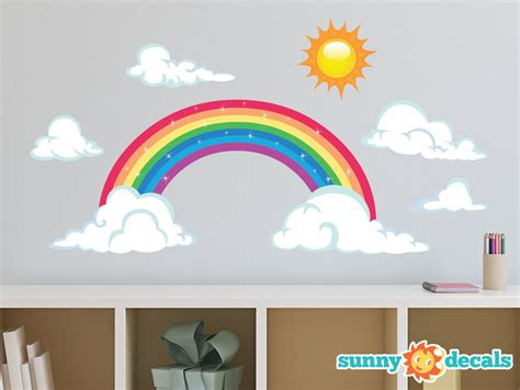 rainbow wall stickers rainbow fabric wall decal sparkling rainbow wall decor with