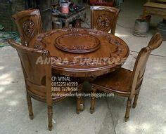 Meja Makan Putar set meja makan 6 kursi motif batik kayu jati mebel kayu