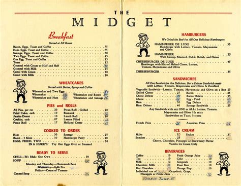 menu from the diner howell michigan 1950 s - 1950s Dinner Menu