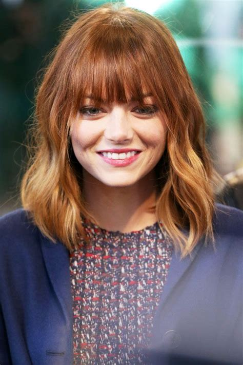 emma stone hairstyle emma stone hair new bangs celebrity beauty