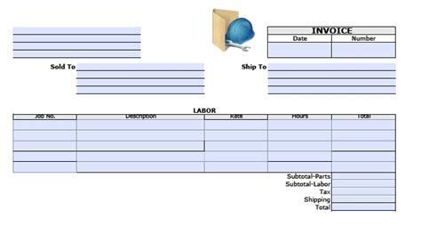 free general labor invoice template excel pdf word
