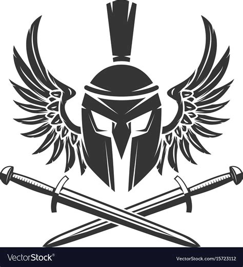spartan helmet with crossed swords and wings vector image