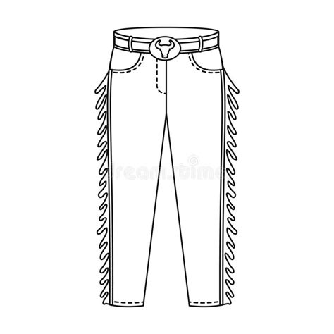 outline black white pants vector illustration isolated on cowboy jeans icon in outline style isolated on white