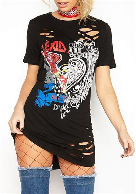 black graphic hellraiser eagle distressed rock ripped