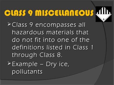 Haz Mat Classes by 3 1 2 Hazmat Classes