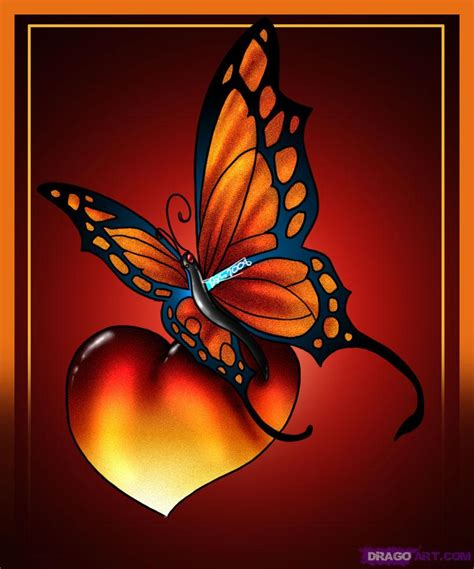 coloured heart tattoo designs butterfly tattoos page 76