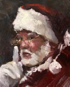 Santa claus painting santa 8 quot x 10 quot oil painting on mounted canvas