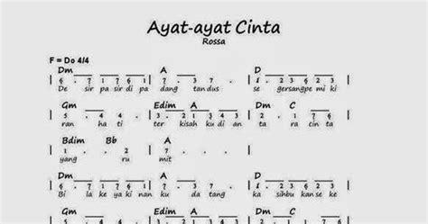 ayat ayat cinta 2 lirik rossa rafi music notes not angka rossa ayat ayat cinta