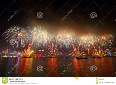 new year 2016 fireworks hong kong time hong kong new year fireworks 2011 editorial photo